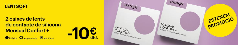 10€ de descompte en les teves lents de contacte mensuals Lentsoft